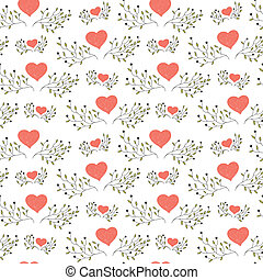 hand drawn floral seamless pattern with hearts