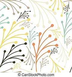 Hand drawn floral seamless pattern with leaves. Summer, spring floral background pattern. Vector illustration