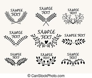 Hand drawn floral symmetric graphic design elements