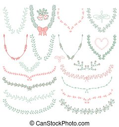 Hand-Drawn Floral Wreaths, Laurels - Set of Colorful...