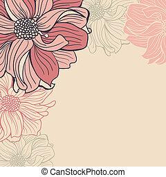 hand-drawn, flores, cartão cumprimento