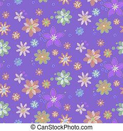 hand-drawn, flores, seamless, plano de fondo