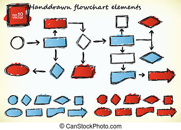 Hand-drawn flowchart elements with blue and red colored...