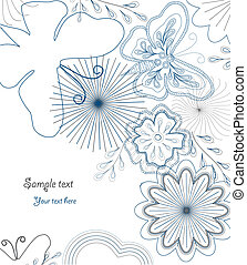 Hand-Drawn Flower and butterfly. Vector - Hand-Drawn...