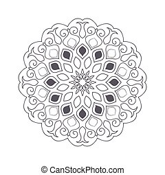 Hand Drawn Flower Mandala For Coloring Book Black And White Ethnic Henna Pattern Indian