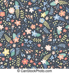 Hand drawn flower seamless pattern vector.