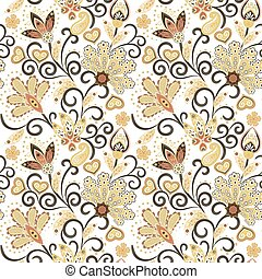 Hand drawn flower seamless pattern. Colorful seamless pattern with pargeting grunge whimsical flowers and paisley. Beige background. Vector