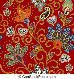 Hand drawn flower seamless pattern. Colorful seamless pattern with pargeting grunge whimsical flowers and paisley. Bright colors on red background. Vector