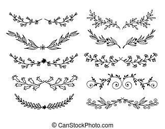 Hand drawn flowers and leaves vector set, floral doodle elements