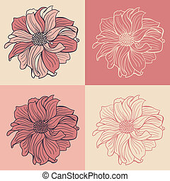 Hand-drawn flowers of dahlia, set of four different colors.