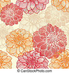 Hand-drawn flowers of dahlia. Seamless vector pattern for...