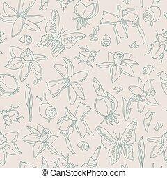 Hand-Drawn Flowers Seamless Pattern