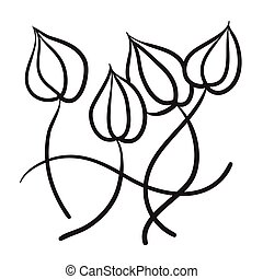 Hand drawn flowers vector icon symbol illustration