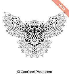Hand drawn flying ornate doodle owl. Design for coloring page, tattoo, poster, flyer.