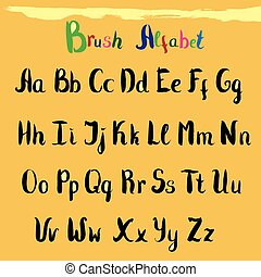 Hand drawn font. Handwritten alphabet letters and numbers