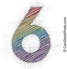 Hand drawn font NUMBER 6
