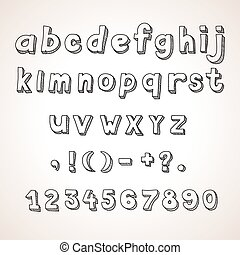 Hand drawn  font,  retro alphabet lowercase and punctuation vintage style.