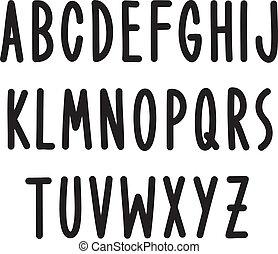 Hand drawn font type. Vector alphabet