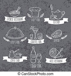 Hand drawn food and drinks labels. Doodle emblems on grunge background