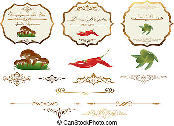 Ornate vector labels for food storage jars/containers; scalable and editable vector illustrations for embellish your layout