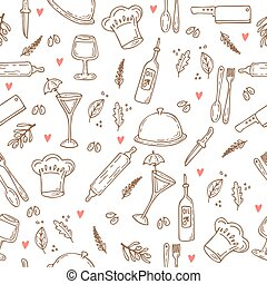 Hand drawn food seamless pattern with hearts. Sketch kitchen design elements