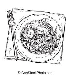 Hand drawn food sketch. Dish of the meat and vegetables.