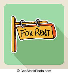 """Hand drawn """"for rent"""" post sign - Vintage real estate sketch..."""