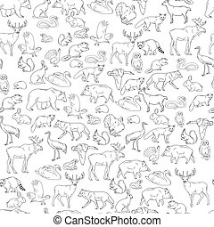 Hand drawn forest animals. Animals seamless background....
