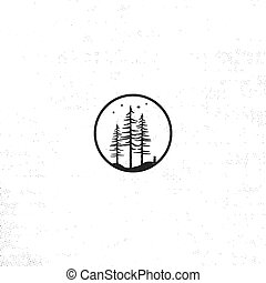 Hand drawn forest badge concept. Pine trees textured illustration with stars. Isolated on white background. Perfect for camping, adventure logo or patches.