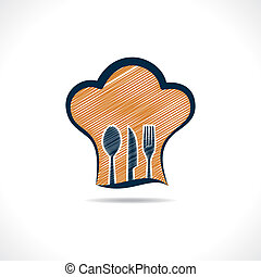 hand drawn forks inside on chef hat - hand drawn forks...