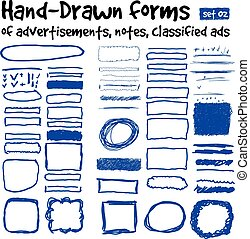 Hand-drawn forms to highlight the advertising and classified ads in newspapers, magazines, etc. Position the subject in the normal or multiply mode. Vector set 01
