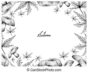 Hand Drawn Frame of Autumn Maple Leaves and Mushrooms -...