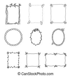 Hand Drawn Frames. Set 2. Vector Illustration