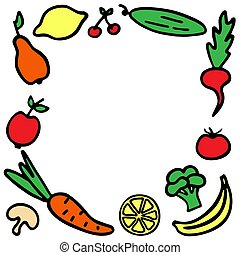Hand-drawn fruit frame. A set of vegetables icons.