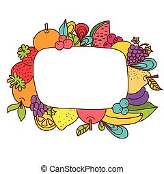 Hand drawn fruit frame