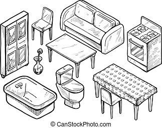 Hand drawn furniture set