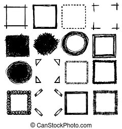 hand-drawn, garabato, marcos, y, esquinas