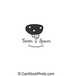 Hand drawn garden isolated illustration. Vector logo template, a tree.