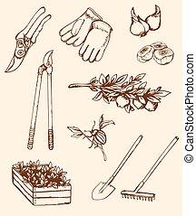 Hand drawn garden tools