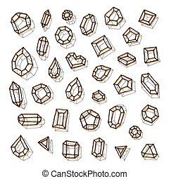 Hand drawn gemstones abstraction vector illustration.