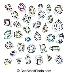 Hand drawn gemstones abstraction vector illustration.