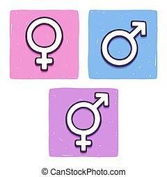 Hand drawn gender symbols