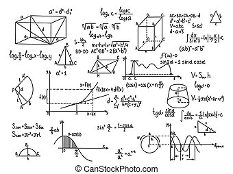 Hand drawn geometry formulas Science knowledge education. -...