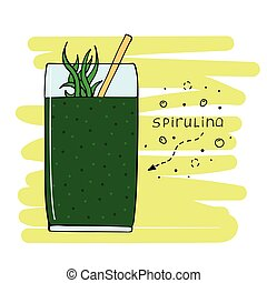 hand-drawn, getränk, glas., abbildung, spirulina