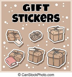 Hand drawn gift boxes stickers set. Cartoon doodles