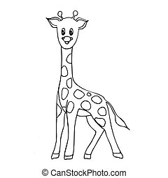 Hand drawn giraffe doodle. Coloring book, design for spiritual relaxation for adults