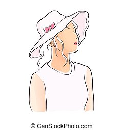hand drawn girl with hat illustration