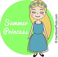 Hand drawn girl with long blonde hair and forget-me-not flowers wreath. Beautiful kid in blue summer dress. Cute female character. Vector illustration