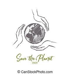 Hand drawn globe between three caring human hands