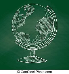Hand drawn globe on a green school board. Vector illustration of a sketch style.